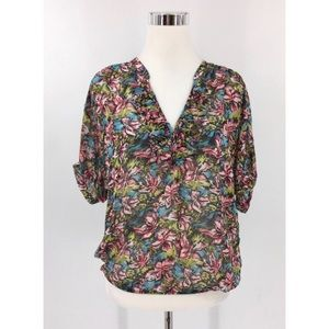 Joie Women's 100% Silk Floral Ruffle V-Neck blouse